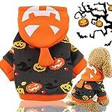 Idepet Halloween Haustier Hoodie Mantel, Kürbis Hund Kostüm Fleece Wintermantel Jacken Pullover für kleine mittlere Hunde Katzen Welpen
