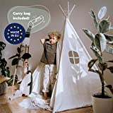 Tipi Dreamin® Spielzelt für Kinder mit Matte, Tragetasche - Perfekt für Kinderzimmer, Drinnen und Draußen -Indianer Tipi Zelt aus Baumwolle -Weiß