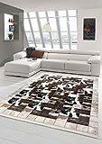 Merinos Kuhfell Imitat Teppich Patchwork Print Teppich in Braun Schwarz Creme Größe 160x230 cm