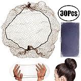 Leeq 30 Stück unsichtbare Haarnetze mit elastischem Rand für Perücken- und Haarfixierung, Damenknotenherstellung, Kaffee