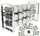 LEANDER DESIGN® Gewürzregal für Küchenschrank und Arbeitsfläche, 18 Gewürzgläser, Inkl 54 Gewürzetiketten, Gewürzständer auf 3 Ebenen – silber