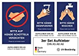 3x Aufkleber Schild Hände Schütteln verboten (A5), Hände desinfizieren (A6), Hände Waschen (A6) (3er Set 1x DIN A5 2x DIN A6)