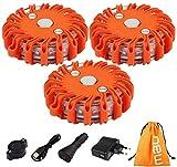 LED-Pannenleuchte, 3 Pack wiederaufladbare Warnleuchte für Notbeleuchtung LED-Flare Signal Strobe-Blinkleuchte für Pannenhilfe am Straßenrand (3 Pack-1)