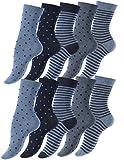 Vincent Creation 10 Paar Süsse Damensocken & Mädchensocken Dot´s and Stripes, Baumwolle - gepunktet und geringelt (39/42, jeansblau)