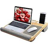 HUANUO Laptopunterlage für Bett mit Mausunterlage & Handgelenkauflage, Laptop Kissen für max. 17 Zoll Notebook, MacBook, inkl. Tablet- und Telefonhalter