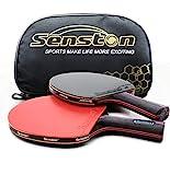 Senston Tischtennisschläger Professioneller Tischtennis Set 2 Tischtennisschläger und 1 Tasche Ideal für Anfänger, Familien und Profis