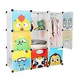 Bamny Kinderzimmer Kleiderschrank, Aufbewahrungsregal für Kleidungen Schuhe Spielzeuge, DIY Steckschrank mit 1 Kleiderstangen und Tieren Motiven (Weiß)
