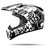ATO-Moto Nevada Weiß Größe M 57-58cm Motocrosshelm mit ausziehbarer Sonnenblende und der neusten Sicherheitsnorm ECE 2205
