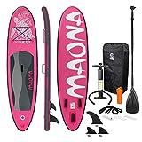 ECD Germany Aufblasbares Stand Up Paddle Board Maona | 308 x 76 x 10 cm | Rosa | PVC | bis 120kg | Pumpe Tragetasche Zubehör | SUP Board Paddling Board Paddelboard Surfboard | Verschiedene Modelle