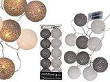 Dekorative glitzernde Lichter-Kette hochwertige Baumwoll-Kugeln mit 10 LED Weihnachtsdeko Lichtschmuck Beleuchtung Feier Party Deko (Weiß/Grau-Glitzer)