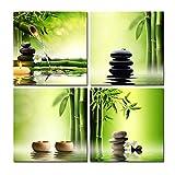 Wieco Art:Moderner Giclée-Leinwanddruck aus 4Bildern, gespannt und gerahmt, Motiv grüner Bambus, Wandkunst für das Heimbüro, Dekoration für Wohn- und Schlafzimmer, grün, 12x12inchx4pcs