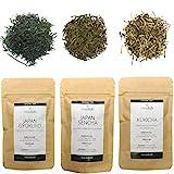 Japanischer Grüner Tee Lose Probierset Geschenkset, Signature Premium Grüntee Japan Sencha Gyokuro Kukicha 3x 20g, Japanese Green Tea TeaClub