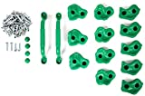 Powerfly Klettergriffe für Kletterwand Kinder Set mit Haltegriffe - 12 Stück Klettersteine mit Schrauben & 2 Stück Handgriffe - Zubehör Bouldergriffe für Indoor Outdoor Spielanlagen Spielturm - Grün