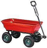 Miweba Bollerwagen Dumper Kippwagen Handwagen – 300 Kg - Kippfunktion - Lenkachse - Luftreifen - Schubkarre – Gartenkarre – Gartenwagen - Transportwagen (Rot)