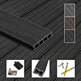 Montafox WPC Terrassendielen Dielen Komplettset Hohlkammerdiele Komplettbausatz Unterkonstruktion Clips, Größe (Fläche):30 m² 4m, Farbe:Anthrazit