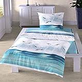 Traumschlaf Seersucker Bettwäsche Küstenbrise Ozean 1 Bettbezug 135x200 cm + 1 Kissenbezug 80x80 cm