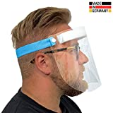 Urhome Hard 1 x Visier Gesichtsschutz aus Kunststoff   Face Shield in Blau   Universales Gesichtsvisier für Erwachsene   Visier zum Schutz vor Flüssigkeiten   Made in Germany