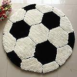 Kinderteppich rund Teppich Stuhl Matte Boden für Kinderzimmer Spielteppiche (Fußball, Durchmesser 80cm)