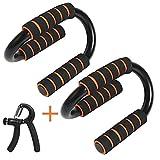 MEYUEWAL Liegestütz Griffe, 2 Push-up-Stangen aus Stahl mit Schaumstoffgriffen und 1 Armtrainer für das Heimtraining Fitness Starke Schultern/Arme/Rücken/Bauchmuskeln (Orange)