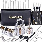 INNOCHEER Lockpicking Set, Dietrich Set 20 Teiliges Lock Pick Set mit 3 Transparentem Trainingsschlössern und Austauschbarer Griff für Anfänger und Profis Schlosser