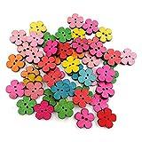 perlo33ER 100 Stück Gemischte Pflaumenblume Holzknopf 2 Löcher DIY Nähen Sammelalbum Dekoration Bastelknopf Für Dekorativen Nähprozess Zufällige Farbe
