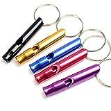 Amasawa 5*Signalpfeife, Notrufpfeife,Überleben Notfall Mini Pfeife Aluminium Schlüsselanhänger Sicherheits außen,extrem laut(rot, gelb, schwarz, blau, lila)