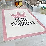 Paco Home Kinderteppich Kinderzimmer Mädchen Babyteppich Waschbar Prinzessin Spruch Rosa, Grösse:120x160 cm