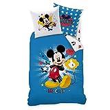 MICKY Maus Kinder Bettwäsche · MICKEY MOUSE SUPER STAR Sterne · Wende Motiv in blau · 2 teilig - Kissenbezug 80x80 + Bettbezug 135x200 cm - 100% Baumwolle