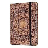 Navaris Kork Notizbuch liniert mit Gummiband - 18x13cm Hardcover Notebook Journal 100 Seiten - mit Bändchen und Fach im Einband - Indian Sun Design