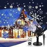 Yinuo Mirror Led Projektor Weihnachten, Schneeflocke Projektorlampe IP65 Wasserdichte Außenbeleuchtung mit Fernbedienung und Timer für Weihnachten Party Festival Innen Außen