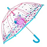PERLETTI Einhorn Kinder Schirm für Mädchen - Stockschirm mit Sicherheitsöffnung - Robuster und Windfester Regenschirm mit Transparenter Kuppel - 3 bis 6 Jahre - Durchm 64 cm - Cool Kids (Transparent)