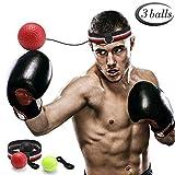 GEYUEYA Home Boxen Training Ball, Reflex Fightball, Punch Boxing Ball mit Kopfband,Reflex Speed Training Boxen- Praktische Ausbildung im Studio oder im Freien(Enthält schwarz, rot, gelb)