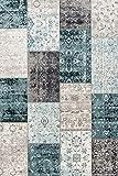 LIFA LIVING 160 x 230 cm Vintage Teppich für Wohnzimmer und Schlafzimmer, Wohnzimmerteppich mit Muster Patchwork, Blau Grau, aus weicher Wolle