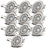 B.K.Licht I 10er Set schwenkbare LED Einbaustrahler I inkl. 10x 5W 400lm GU10 Leuchtmittel I warmweiße Lichtfarbe I LED Einbauspots I LED Spots