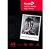 Koala Inkjet Hochglänzend Fotopapier DIN A4, 240 g/m², 100 Blatt, für Canon HP Epson Tintenstrahldrucker