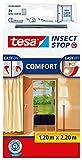 tesa Insect Stop COMFORT Fliegengitter für Türen - Insektenschutz Tür mit Klettband - Fliegen Netz ohne Bohren, anthrazit ( 2 x 65 cm )120 cm x 220 cm