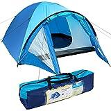 ONVAYA® 3 Personen Zelt (doppelwandig) | stabiles Kuppelzelt, Wassersäule 1500 mm | blaues Campingzelt mit Vorzelt und Moskitonetz