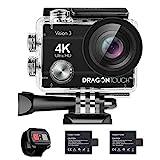 Dragon Touch Action Cam 4K 16MP Action Kamera Vision 3 Unterwasserkamera 170° Weitwinkel WiFi Sportkamera mit Fernbedinung Zubehöre Action Camera wasserdicht Kamera