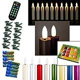 DbKW (Creme 10er) NEUHEIT! Echtflamme-LED Christbaumkerzen, Fernbedienung Timer Dimmfunktion Flackerlicht + 12tlg. Kalff Seifenset! Baumkerzen Weihnachtskerzen