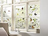 Komar - Window-Sticker CHEERFUL - 31 x 31cm - Fensterdeko, Fenstersticker, Fensterfolie, Schmetterlinge, Butterfly, Blume, Zweige - 16006