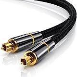 CSL - 2,0m HQ Platinum Toslink optisch digital Kabel S PDIF Audio Kabel - Aluminium Stecker vergoldete Kontakte Nylonummantelt - LWL Lichtwellenleiter - 2,0 Meter