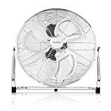 Premium Bodenventilator 45cm (18 Zoll) Inkl. Tasche - 120 Watt ✓ Ventilator in Chrom ✓ Windmaschine ✓ Hoher Luftdurchsatz ✓ Stufenlos neigbarer Ventilatorkopf ✓