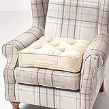 Homescapes großes Sitzkissen 50 x 50 cm, Sitzpolster für Sessel und Sofas mit Tragegriff und Veloursbezug, 10 cm hohes gepolstertes Matratzenkissen, Creme-weiß