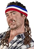 Vokuhila Kopfband mit Haaren Stirnband Hillbilly Headband Prollperücke perücke Proll Perücke Pimp (Braun)