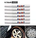 Techwills 6 Stück WEIß Reifen Stift Reifenmarker Auto, Motorrad Fahrradreifen Reifenmarkierungsstift Reifenstift Marker Stift Beschriftung Wasserfest Wetterfest