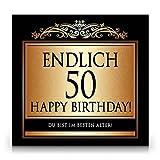 Udo Schmidt Aufkleber Flaschenetikett Etikett Endlich 50 Geburtstag gold elegant