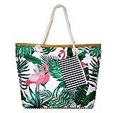 SenPuSi Große Strandtasche mit Reißverschluss Shopper Schultertasche Leinwand Sommer Schwimmbad Damen TascheVerschluss Badetasche Umhängetasche für Reise, Kaufen, Ausflug usw (Großer Flamingo)