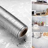 iKINLO Aluminium Klebefolie Selbstklebend Küchenfolie Küchenrückwand Folie Möbel 61 x 500 cm Anti-Schimmel Öl Resistent Gegenaufkleber Hitzebestandige Spritzschutz DIY Küche Aufkleber