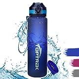 toptrek Trinkflasche 1L BPA-Frei Wasserflasche aus Tritan EIN-klick-Öffnung/Versiegelt Auslaufsicher, Sportflasche für Sport, Fitness, Camping, Uni, Fahrrad, Outdoor (Blau)