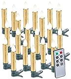 Lunartec Weihnachtskerzen: 20er-Set LED-Weihnachtsbaumkerzen mit Fernbedienung und Timer, Gold (Kabellose Weihnachtskerzen)
